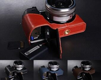 4 Colors!Sony A6300 Case, A6300 leather Camera pedestal Case,Half Leather Camera Case