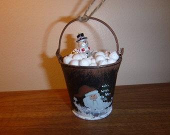 Snowman Bucket Ornament / Christmas Ornament