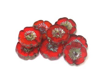12mm Persimmon Red transparent givre opaline w/ picasso medium Hawaiian hibiscus flower bead with detailed design. Set of 6, 12 or 24.