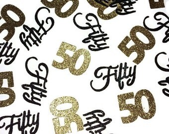 fifty confetti 50th birthday decorations 50th anniversary party number 50 party supplies - 50th Birthday Party Decorations