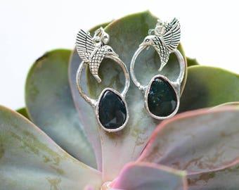 moss agate  earrings //nickelfree // humming bird on top