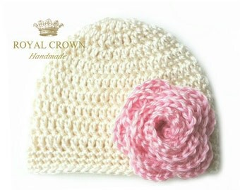 Cream Newborn baby hat,Crochet baby girl hat,Crochet girl hat,Crochet baby hat,Crochet flower hat,Baby girl hats,Newborn girl gift, Pink