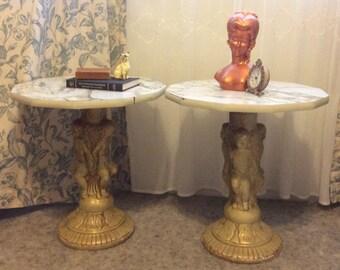 Mid-Century Cherub End Tables Statue