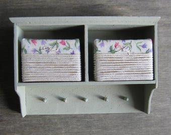1/12th Scale Wall Unit with Storage Baskets - Green / Tulip Design Fabric