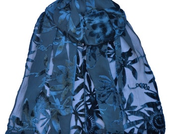 Navy, Small - Crepe silk, Passionflower, Devore scarf