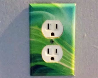 Outlet Cover Green Tie Dye Wall Plate