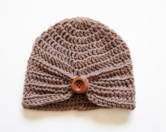 Handmade Crochet Baby Turban Style Hat in Mocha with a wooden button, Made to order, Many Colours Available, great photo prop! Baby Gift