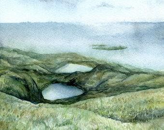Original watercolor landscape with two lakes and sea. Minimalistic  aquarelle scenery