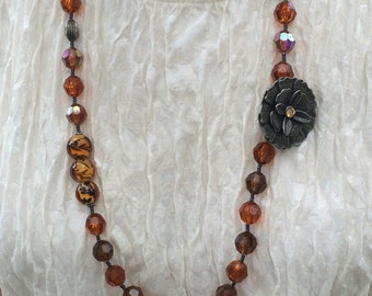 Buckwheat Honey -- Asymmetrical amber and pewter tone necklace