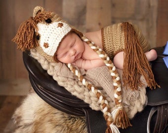 Crochet Horse Hat and matching Diaper Cover