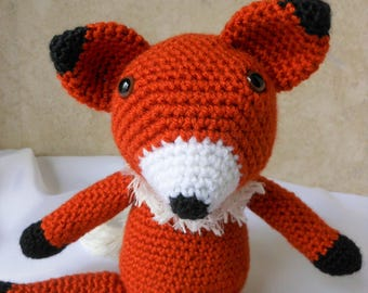 crochet fox, handmade stuffed animal plushy, woodland animals, children toys, amigurumi nursery decoration, baby shower gift, pretend play