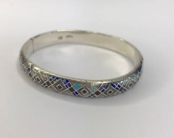 Antique Imperial Russian Silver and Enamel Bangle, dating from the late 1880s