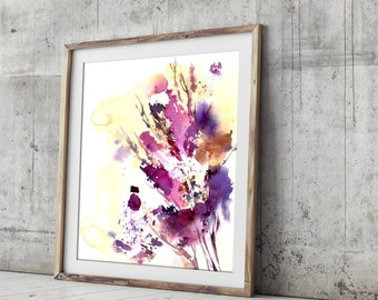 Abstract Art Print, Leaves Watercolor Painting, Modern Wall Art, Abstract Painting, Intuitive painting, bright colors wal lart