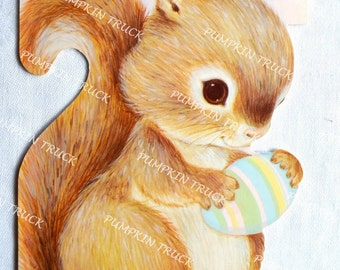 Vintage Greeting Card - Squirrel and Easter Egg for Godchild - Unused Hallmark