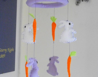 Felt baby mobile. Violet baby mobile, for baby girl with felt bunnies and carrots. Nursery mobile.