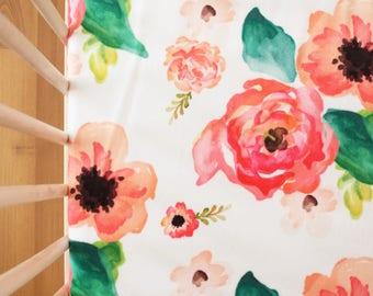Floral Dreams Minky Crib Sheet / Floral Crib Sheet