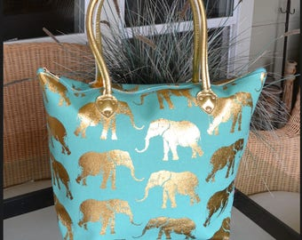 Elephant totes-Metallic Gold Totes-Fast Shipping