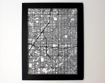 Overland Park Map / Laser Cut Map / Overland Park KS / Overland Park Art / Overland Park Kansas / Framed Map / Wedding Gift / Anniversary
