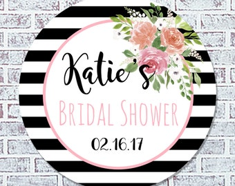 Personalized Floral Bridal Shower Favor Stickers - Black/White Bridal Shower Favor Labels - Favor Tags (201)