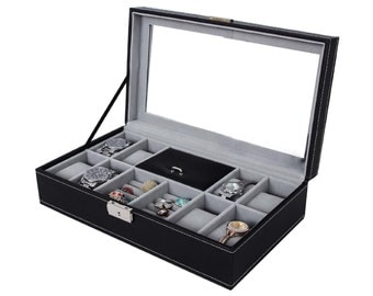 Leather watch box black display case Storage Australia mens jewellery box personalised engrave father's gift idea