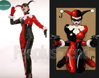 Batman Cosplay, Harley Quinn Jester PVC Costume Set Gotham Girls DC Comics