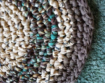 """25"""" Round Rag Rug in Brown,  Camel,  and Turquoise"""