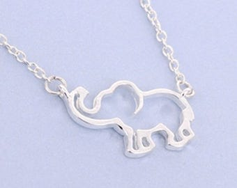 Cute Elephant Necklace with Cut Out Center Sterling Silver Plated