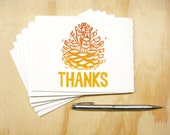 Orange Pinecone Thanks Cards - Set of 6 Block Printed Cards - Thanksgiving - Fall Autumn - READY TO SHIP