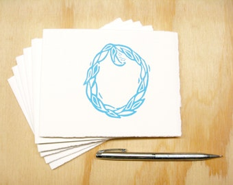 Letter O Stationery - READY TO SHIP - Personalized Gift - Set of 6 Block Printed Cards