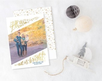 Custom Photo Christmas Cards with Photo - Holiday Cards - Real Foil Christmas Cards  - Custom Christmas Card Photo - All is Bright