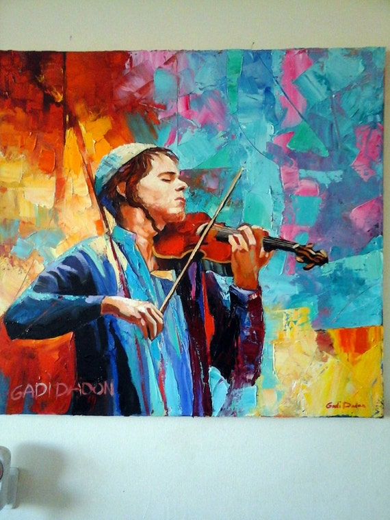 Jewish art musician oil painting vioilinist large canvas made for Israeli artists oil paintings