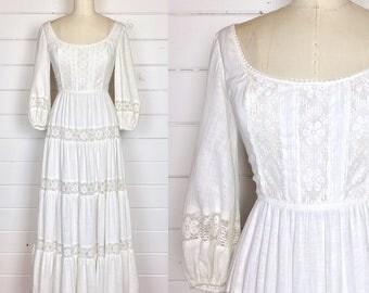Vintage 1970s Cream Gauze Cotton Maxi Dress / Made by LANZ Originals / Crochet Lace Trim / Poet Sleeves