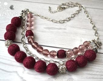 "Tiered Jewel Necklace ""Marsala"" - Handmade cotton jewelry"