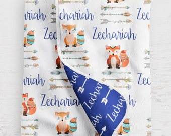 Fox Baby Blanket with Name Perfect for Boy Woodland Nursery Decor