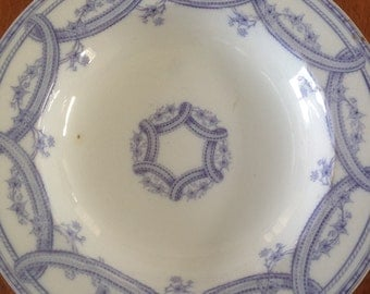 Antique Wedgwood & Co EXCELSIOR Rimmed Soup Bowl - Lavender / Purple and White Transferware - England