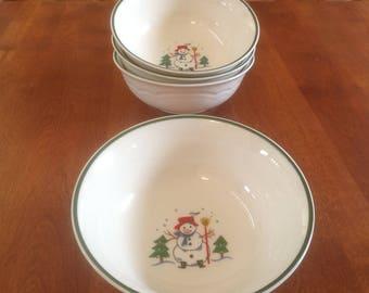 "Four (4) Pfaltzgraff SNOW VILLAGE 6"" Gazebo Cereal / Soup / Salad Bowls (2 Sets Available)"