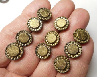 Antique Matching Brass Buttons Lot of 9 Victorian with Twinkle Border Etched Flower Center Buttons 1/2""