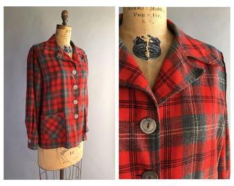 1940's Plaid Wool Work Jacket
