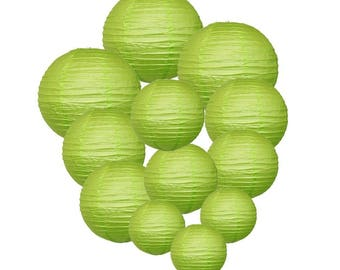 Just Artifacts Decorative Round Chinese Paper Lanterns 12pcs Assorted Sizes (Color: Light Green)