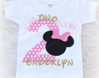Minnie Mouse Second Birthday shirt - 2nd birthday shirt - 2 years old - I'm Twodles shirt - Minnie Mouse theme party - I'm Twoodles