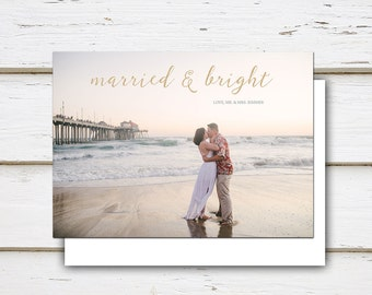Printable Holiday Christmas Postcard, Christmas Card, Personalized, Photo Card, Just Married, We Did, Elopement, Hitched, MB007