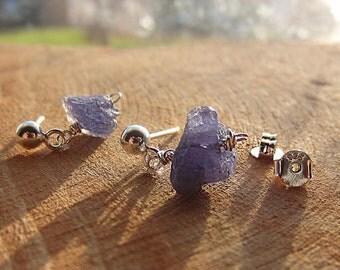 Rough Tanzanite Earrings, Sterling Silver Earrings, Raw Stone Earrings, Rough Tanzanite, Minimalist Earrings, Birthstone, Christmas Gift for