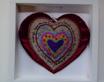 Heart textile design mounted wooden frame red silk hand embroidery OOAK my own design unique gift special collection