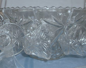 Vintage Punch Bowl, 8 Cups, 8 Hooks. Ladle EAPG Star of David Pattern by Anchor Hocking