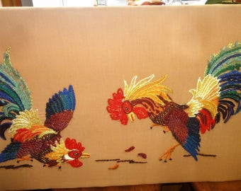 Two Roosters Confronting Each Other Needlepoint/ Unframed