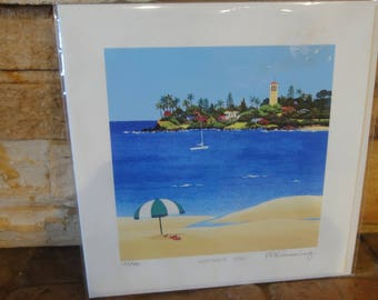 "Hawaiian Litho/ Titled ""Waimea Bay""/ Signed Rosalia Prussing/Numbered/ Certificate of Authenticity"