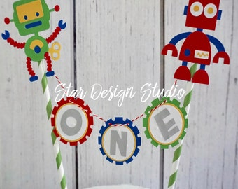Robot Cake Topper Birthday Bunting cake topper-  Smash cake, first birthday, Any number, name available