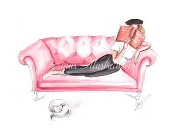 Sunday Reading, Watercolor, Fashion illustration, Bookworm art, Bookworm print, Fashion sketch, Fashion wall art, Fashion print, Book lover