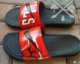 Nike Custom Chicago Bulls Benassi Swoosh Slide Sandals Flip flops Mens Womens Kids