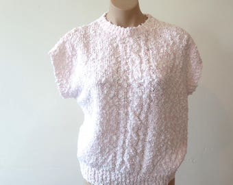 80s baby pink sweater, boucle knit top, blouse top,  Australia L Large 16, vintage knitwear, semi sleeveless, cable knit, 317/175